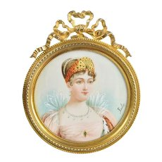 Antique French Portrait Miniature of Empress Marie-Louise, Dore Bronze Frame