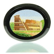 Antique Grand Tour Micro Mosaic Plaque Depicting Colosseum - Micromosaic