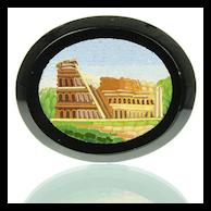 Antique Grand Tour Micro Mosaic Plaque Depicting Colosseum - Micromosaic