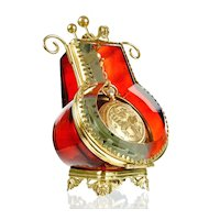 Antique Victorian Ruby Red Glass & Ormolu Pocket Watch Holder Display Vitrine Box