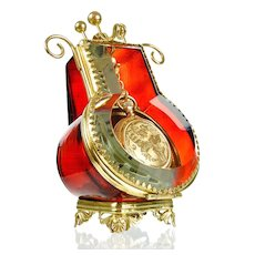 Antique Victorian Ruby Red Glass & Ormolu Pocket Watch Holder Display Vitrine Box