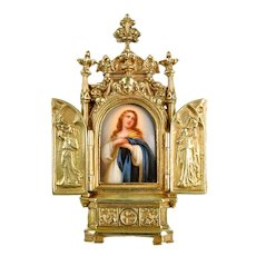 Antique Miniature Painting on Porcelain Plaque in Bronze Ormolu Frame, Murillo's Immaculate Conception
