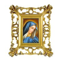 Antique Hand Painted Porcelain Plaque of Madonna in Gilt Wood Frame