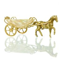 Antique French Palais Royal Mother of Pearl & Ormolu Pony Cart Thimble Holder