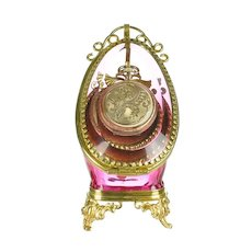 Antique Rose Pink Glass Pocket Watch Holder Stand Display Vitrine Box