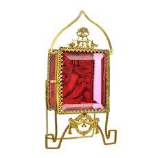 Antique French Cranberry Glass & Gilt Ormolu Pocket Watch Holder Vitrine Box Napoleon III
