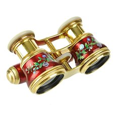Antique French Ruby Red Enamel Opera Glasses with Mother of Pearl & Ormolu