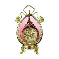 Antique Cranberry Glass Pocket Watch Holder Stand Casket Box