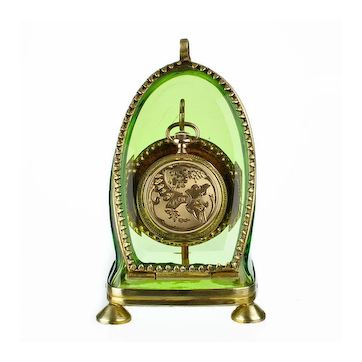 Antique Green Glass & Ormolu Pocket Watch Holder Stand Display Vitrine Box