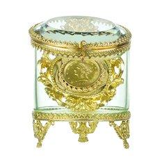 Antique Glass & Gilt Bronze Pocket Watch Holder - Jewelry Display Vitrine Casket - Rococo