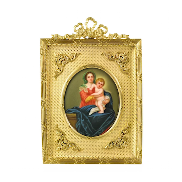 Antique Miniature Painting Madonna and Child - Firenze Porcelain Plaque - Gilt Ormolu Frame