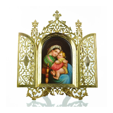 Antique Miniature Painting on Porcelain of Raphael's Madonna of the Chair - Gilt Metal Frame