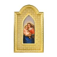 Antique Miniature Painting Sistine Madonna on Porcelain Plaque in Gilt Bronze Frame - Raphael