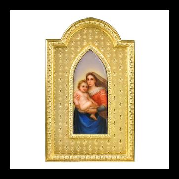 Antique Miniature Painting Sistine Madonna on Porcelain Plaque in Gilt Bronze Frame - Raphael