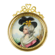 Antique French Hand Painted Portrait Miniature of Sarah Siddons - Dore Bronze Frame - Artist Signed