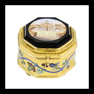 Antique Italian Grand Tour Micro Mosaic Jewelry Box - Roman Micromosaic - Museum Quality