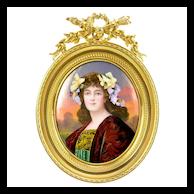 Antique French Limoges Enamel Miniature Portrait - Gilt Bronze Frame - Artist Signed Lescot