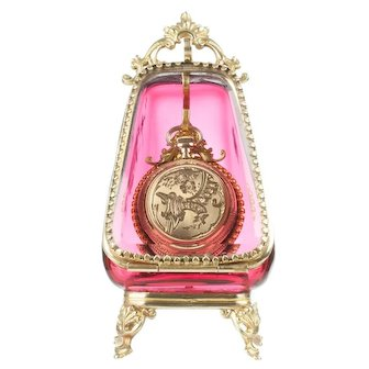 Antique Cranberry Glass Pocket Watch Holder Casket Display Box