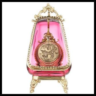 Antique Cranberry Glass Pocket Watch Holder Casket Display Box