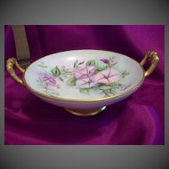 Prussia Hand Painted Footed Petunia Compote Dish Bowl, Ca1902-1930
