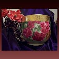 Huge Gorgeous  Limoges Hand Painted Rose Jardiniere Planter Vase, Artist Signed
