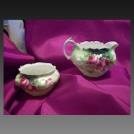 Old Lovely   B.R.C Molier Germany Hand Painted Limoges Roses Sugar Bowl/ Creamer Set, Deeply Scalloped