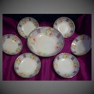 Vintage Lovely Bavaria Germany  Rose  Master Berry Bowl Set