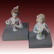 Lot of 2 Vintage Germany Half Doll Pin Cushion Figurine
