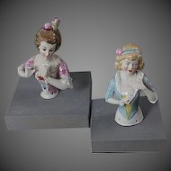 Lot of 2 Vintage Germany Half Doll Pin Cushion Figurine