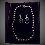 Black Peacock Shell Pearl Sterling Silver Necklace Earring Set