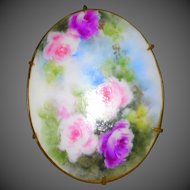 Vintage Hand Painted Porcelain Sash Pin Oval Brooch Plaque