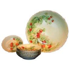 Limoges Hand Painted Strawberry Master Bowl Set, Artist Signed