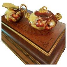 "Limoges Pickard Hand Painted Berry Creamer Sugar Bowl Set,  Pickard Artist Signed,""M.K"""
