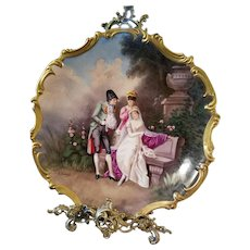 """15.5"""" Magnificent Limoges Figural Wall Plaque Charger, Listed Limoges Artist Signed, E .Furlaud"""""""