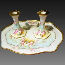 Limoges  Pair Hand Painted Rose Candle Holders, Artist Signed
