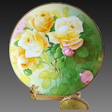 "Bavaria Hand Painted Rose Cabinet Plate,Artist Signed"" C. Penet"""