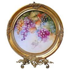 """17""""  Hand Painted Grape Wall Plaque Charger ,Artist Signed"""