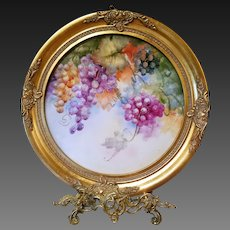 "17""  Hand Painted Grape Wall Plaque Charger ,Artist Signed"