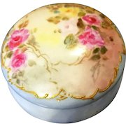 Limoges Hand Painted Rose Jewelry Trinket box Jar