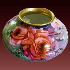 Large Limoges P.H. Leonard Hand Painted Rose Squat Vase,  Artist Signed,Ca 1898-1907