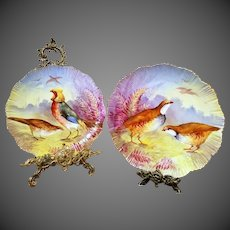 Large Limoges Hand Painted Bird Charger Set