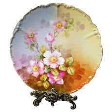 "Limoges Hand Painted wild Rose Plate,Artist Signed, ""Lefort"""