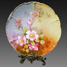 "Limoges Hand Painted wild Rose Plate,Artist Signed, ""Lefort"""