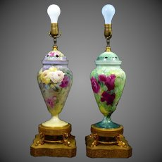2 Limoges  Hand Painted Rose Urn Vase Lamps