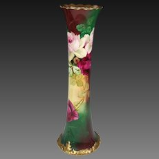 "16"" Pickard Hand Painted Rose Vase, Pickard Artist signed ""E. Chellinor"""