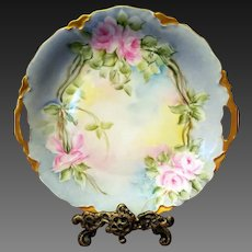 Bavaria Hand Painted  Rose Cake Plate Charger