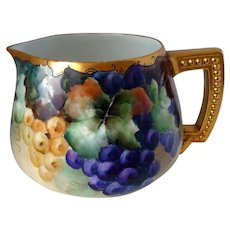 """Large Limoges Hand Painted Grape Pitcher ,Artist Signed , """"C. Malmberg"""""""