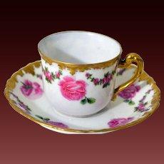 Limoges Rose Cup Saucer Set