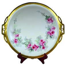 "15.5"" Limoges Hand Painted Rose Platter Serving Tray"