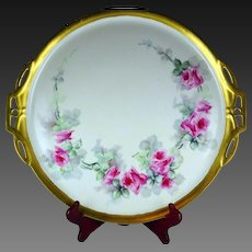 """15.5"""" Limoges Hand Painted Rose Platter Serving Tray"""